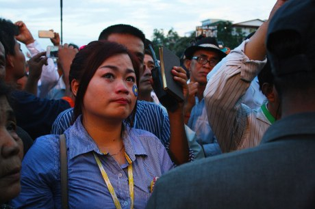 A CNRP supporter is brought to tears by the proceedings
