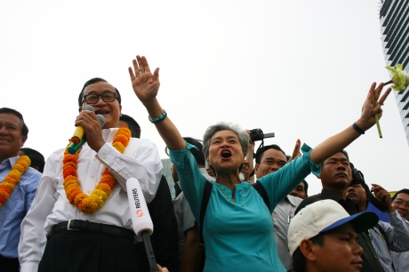 (l-r) Kem Sokha, Sam Rainsy, and Choulong Somora (Mr. Rainsy's wife)